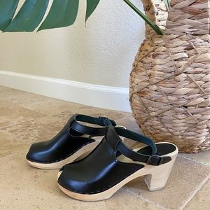 SVEN Original Black Halter Top Peep Toes Clogs 36